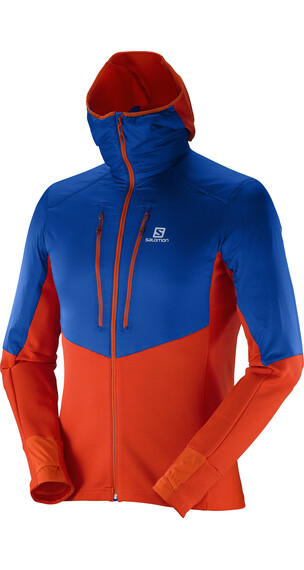 Salomon M's Drifter Air Mid Hoodie Vivid Orange/Blue Yonder